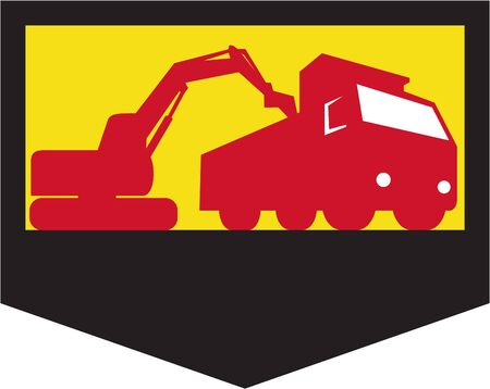 digger: Illustration of a mechanical digger excavator earthmover loading a dump truck viewed from low angle set inside shield crest done in retro style, Illustration