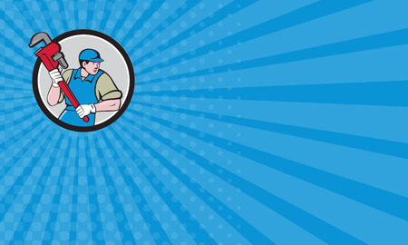 monkey wrench: Business card showing illustration of a plumber wearing hat running holding giant monkey wrench looking to the side viewed from front set inside circle on isolated background done in cartoon style. Stock Photo