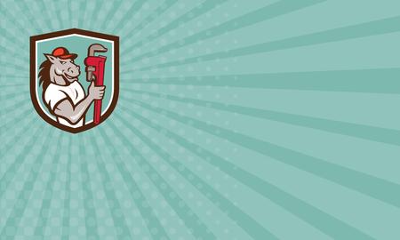 만화 스타일에서 수행하는 격리 된 배경에 방패 크레스트 안에 설정 원숭이 렌치를 들고 말 배관공의 그림을 보여주는 비즈니스 카드. 스톡 콘텐츠