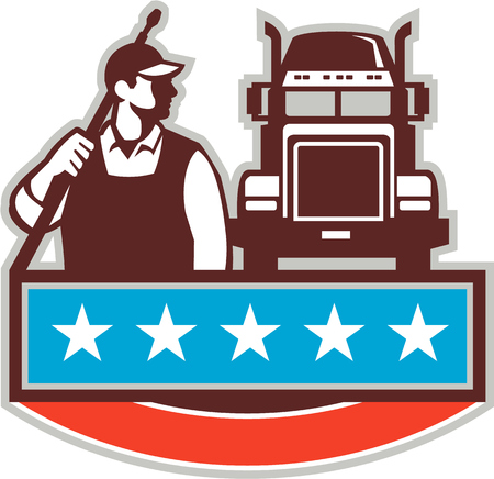blaster: Illustration of a male pressure washing cleaner worker holding a water blaster on shoulder looking to the side with truck viewed from front set on isolated white background with stars done in retro style.