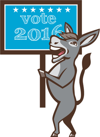 gop: Illustration of a democrat donkey mascot of the democratic grand old party gop smiling holding a sign placard with Vote 2016 and stars set on isolated background done in cartoon style.