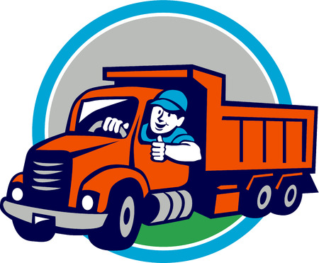 Illustration of a dump truck driver smiling and driving with thumbs up set inside circle on isolated background done in cartoon style.