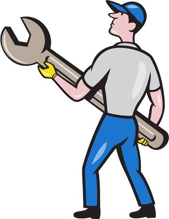 back view man: Illustration of a mechanic carrying giant spanner looking up to the side viewed from rear set on isolated white background done in cartoon style. Illustration