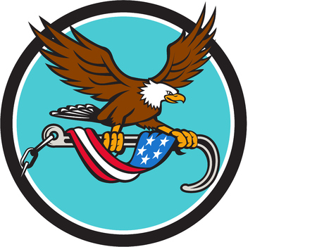 talon: Illustration of an american bald eagle clutching with its talon a towing j hook with chains draped with usa american flag set inside circle done in retro style style.