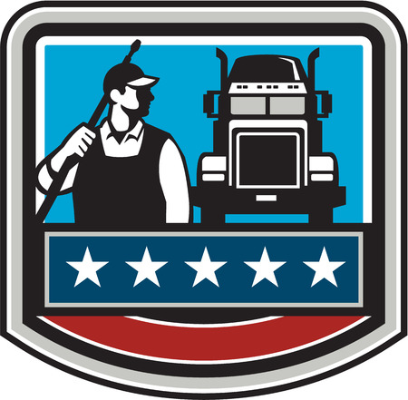 pressure washing: Illustration of a male pressure washing cleaner worker holding a water blaster on shoulder looking to the side with truck viewed from front set inside shield crest with american stars and stripes flag in the background. Illustration