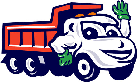 Illustration of a dump truck waving set on isolated white background done in cartoon style.