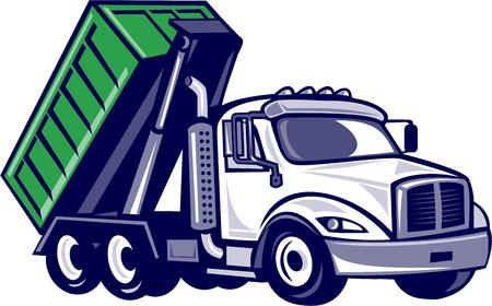 Illustrazione di un camion roll-off con il contenitore bin sul retro visto dal set di lato su sfondo bianco isolato fatto in stile cartone animato.