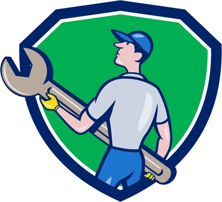 back view man: Illustration of a mechanic carrying giant spanner looking up to the side viewed from rear set inside shield crest on isolated background done in cartoon style.