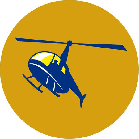 airborne: Illustration of a helicopter chopper in flight flying set inside circle on isolated background done in retro style.
