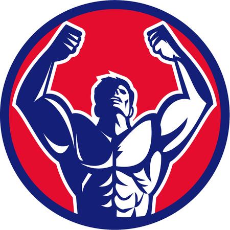 Illustrazione di un body builder di sesso maschile flettendo i muscoli alzando lo sguardo vista dal di fronte ha impostato il cerchio su sfondo isolato fatto in stile retrò. Archivio Fotografico - 57958485