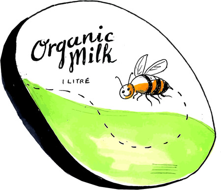 litre: Drawing sketch style illustration of an organic milk 1 litre label with a flying worker honey bee.