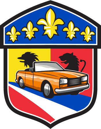coupe: Illustration of a vintage cabriolet coupe car with top-down folding roof with French coat of arms crest and fleur-de-lis iris flower set inside shield crest done in retro style.
