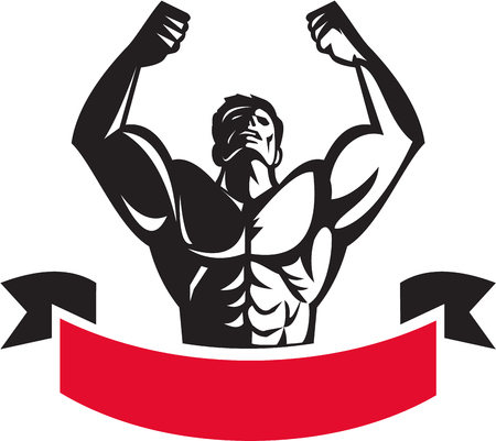 looking at view: Illustration of a male body builder flexing muscles looking up viewed from front set on isolated white background with banner done in retro style.