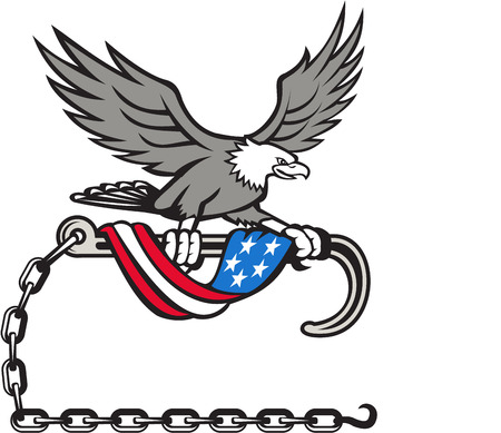 talon: Illustration of an american bald eagle clutching with its talon a towing j hook with chains draped with usa american flag set on isolated white background done in retro style style.