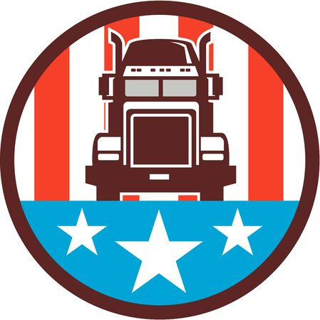 semitruck: Illustration of a truck viewed from front set inside circle with american stars and stripes in the background done in retro style. Illustration