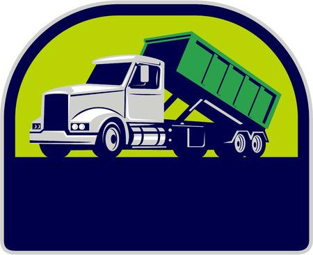 Illustratie van een roll-off vrachtwagen met container bin op de rug van opzij gezien set binnen halve cirkel gedaan in retro stijl.