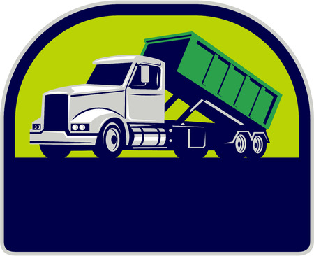 dumpster: Illustration of a roll-off truck with container bin on back viewed from side set inside half circle done in retro style.