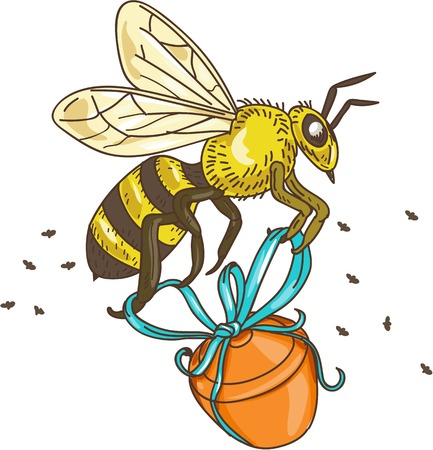 honey pot: Drawing sketch style illustration of a worker honey bee carrying a honey pot with ribbon viewed from the side set on isolated white background.
