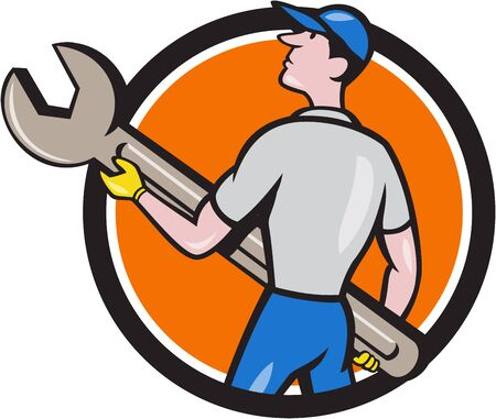 man back view: Illustration of a mechanic carrying giant spanner looking up to the side viewed from rear set inside circle on isolated background done in cartoon style. Illustration