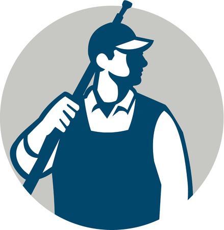 pressure washing: Illustration of a male pressure washing cleaner worker holding a water blaster on shoulder looking to the side viewed from front set inside circle on isolated background done in retro style.