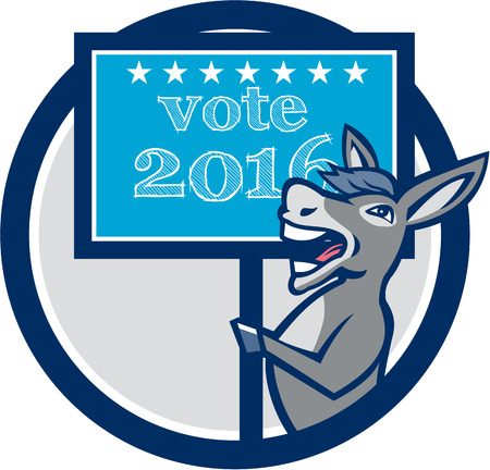 gop: Illustration of a democrat donkey mascot of the democratic grand old party gop smiling holding a sign placard with Vote 2016 and stars set inside circle done in cartoon style.