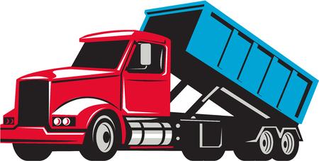 Illustrazione di un camion roll-off con il contenitore bin sul retro visto dal set di lato su sfondo bianco isolato fatto in stile retrò.