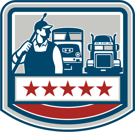 pressure washing: Illustration of a male pressure washing cleaner worker holding a pressure water gun on shoulder looking to the side with truck and train in the background viewed from front set inside shield crest with stars. Illustration