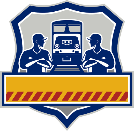 diesel train: Illustration of train engineers with arms crossed looking at each other with diesel train on rail tracks in the background set inside shield crest done in retro style. Illustration