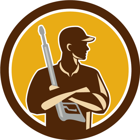 pressure washing: Illustration of power washer worker with arms crossed holding pressure washing gun looking to the side viewed from front set inside circle on isolated background done in retro style.