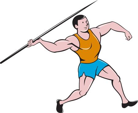 lanzamiento de jabalina: Ilustración de una pista y campo atleta de lanzamiento de jabalina se ve desde el lado conjunto sobre fondo blanco aislado hecho en estilo de dibujos animados. Vectores