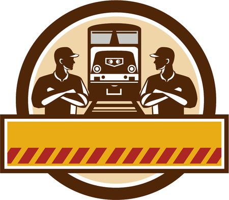 diesel train: Illustration of train engineers with arms crossed looking at each other with diesel train on rail tracks in the background set inside circle done in retro style. Illustration