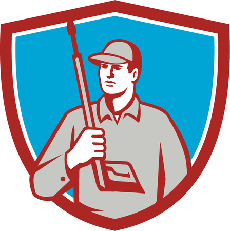 pressure washing: Illustration of power washer worker holding pressure washing gun on shoulder looking to the side viewed from front set inside shield crest on isolated background done in retro style.