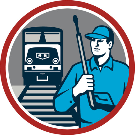 pressure washing: Illustration of power washer worker holding pressure washing gun on shoulder looking to the side with train and rail tracks in the background viewed from front set inside circle done in retro style.