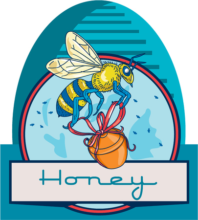 honey pot: Illustration of a worker honey bee carrying a honey pot with ribbon with skep in the background set inside circle and the word Honey in the bottom done in retro style. Illustration