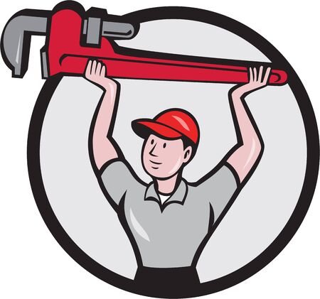 lift and carry: Illustration of a plumber lifting giant monkey wrench over head looking to the side viewed from front set inside circle on isolated background done in cartoon style. Illustration