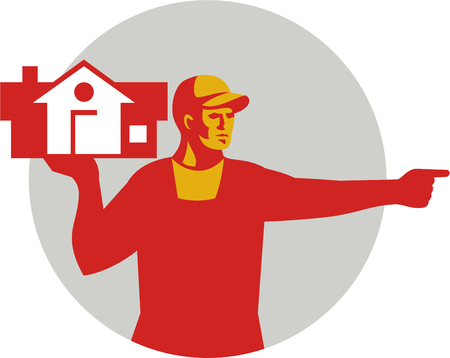 hand pointing: Illustration of a house remover carrying house on one hand and the other hand pointing to the side viewed from front set inside circle done in retro style. Illustration