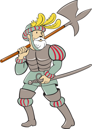 colonizer: Illustration of a spanish conquistador standing walking holding ax lance on shoulder and sword in the other hand looking to the side viewed from front set on isolated white background done in cartoon style.