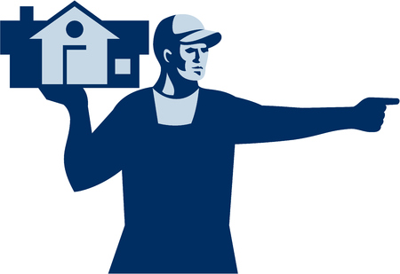 labourer: Illustration of a house remover carrying house on one hand and the other hand pointing to the side viewed from front set on isolated white background done in retro style. Illustration