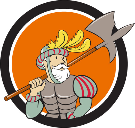 Illustration of a spanish conquistador holding ax sword lance on shoulder looking to the side viewed from front set inside circle done in cartoon style. Illustration