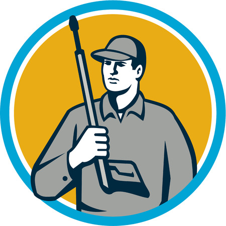 Illustration of power washer worker holding pressure washing gun on shoulder looking to the side viewed from front set inside circle on isolated background done in retro style. Illustration