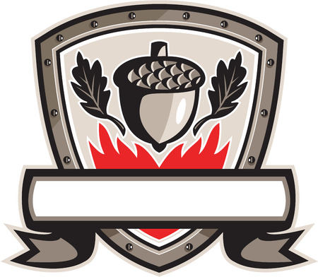 Illustration of an acorn, oak leaf and flames set inside shield crest with banner and ribbon done in retro style.