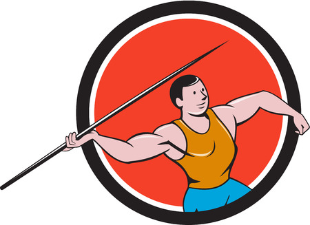 Illustration of a track and field athlete javelin throw viewed from side set inside circle on isolated background done in cartoon style. Illustration