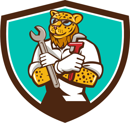 monkey wrench: `Illustration of a leopard mechanic holding spanner and monkey wrench with arms crossed viewed from front set inside shield crest on isolated background done in cartoon style. Illustration
