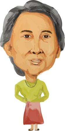 the prime minister: Water color caricature illustration of the Prime Minister of Republic of the Union of Myanmar Burma, Aung San Suu Kyi facing front done in cartoon style.