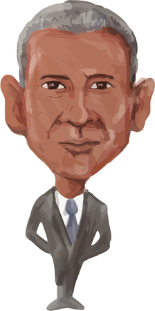 sates: Watercolor caricature illustration of the 44th American President of the United States of America, Barack Obama viewed from front done in cartoon style.