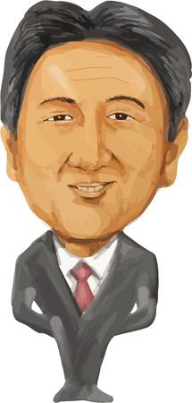 caricaturas de personas: Color de agua ejemplo de la caricatura del primer ministro de Japón, Shinzo Abe, frente al frente hecho en estilo de dibujos animados. Editorial