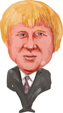 mp: Water color caricature illustration of Boris Johnson the MP Uxbridge and South Ruislip and former mayor of London facing front done in cartoon style.