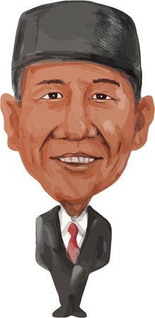 the prime minister: Water color caricature illustration of the Prime Minister of Indonesia, Joko Widodo also known as Jokowi facing front done in cartoon style.