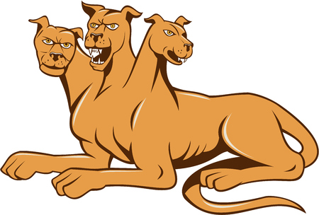 Illustration of cerberus, in Greek and Roman mythology, a multi-headed usually three-headed dog, or hellhound with a serpents tail, a mane of snakes lions claws  sitting set inside on isolated white background done in cartoon style. Illustration
