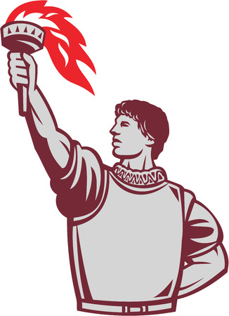 Illustration of a spanish conquistador looking to the side wearing armor with one head at the back and the other hand raising up torch set on isolated white background done in retro style. Illustration